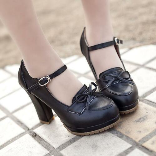 Casual New Women Brogue Bowknot LoLita Up Leather Mary Jane High Heels Shoes