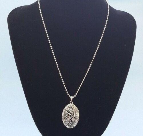 Tibetan Silver Pendant Necklace Oval Filigree Flowers Charm Jewelry Chain