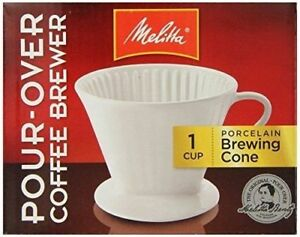 MELITTA-Pour-Over-Coffeemaker-1-Cup-Coffee-Maker-Porcelain-Brewing-Cone-NEW