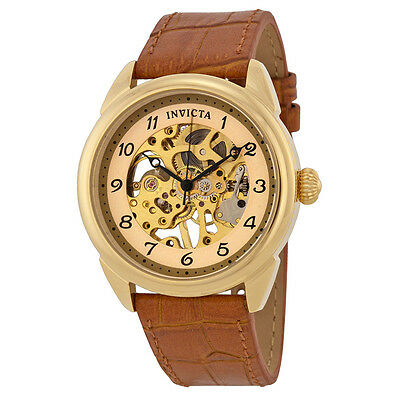 Invicta Specialty Mechanical Skeleton Dial Leather Band Mens Watch