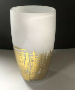 Vase-Pro-Flowers-cased-Glass-White-and-Gold-Abstract-lines-square-design-9-034-Tall