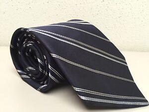 Ted Baker London Mens Neck Tie Navy Blue Diagonal Stripe Silk USA 3.75 W x 58 L