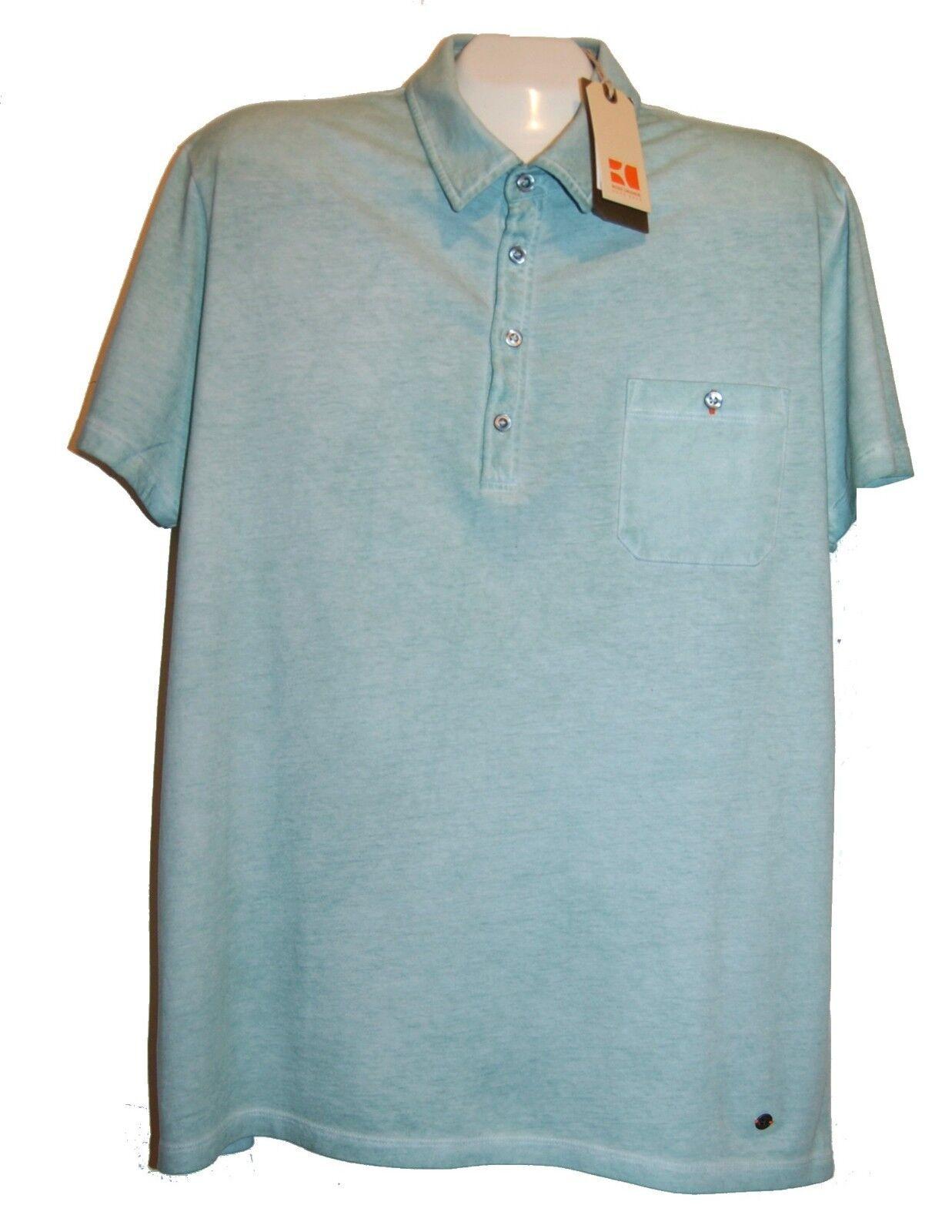 HUGO BOSS Light Teal Green 100% Cotton Slim Fit MEN'S Polo Shirt Size 2XL NEW