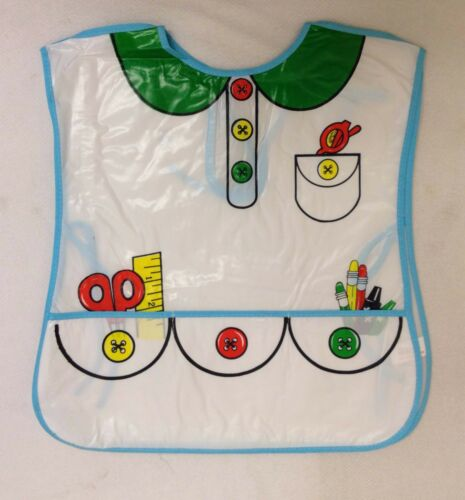 Painting Playtime Kids Apron Large PVC Apron Bibs Front\Back Covered New