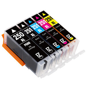 5PKs PGI-250 XL CLI-251 XL Ink Cartridges For Canon PIXMA ...
