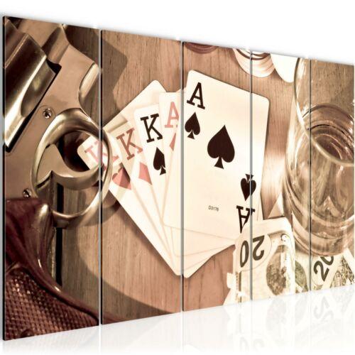 WANDBILDER XXL BILDER Poker Whisky Waffe VLIES LEINWAND BILD KUNSTDRUCK 103555P