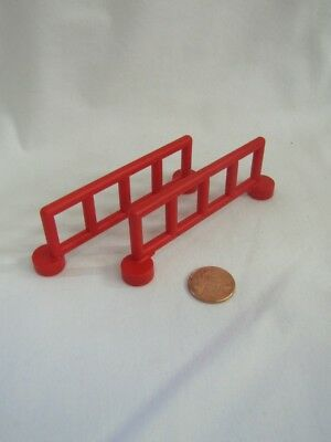 Lego Duplo Lot of 2 WHITE RED FENCE RAIL SECTIONS FENCING Zoo Construction House