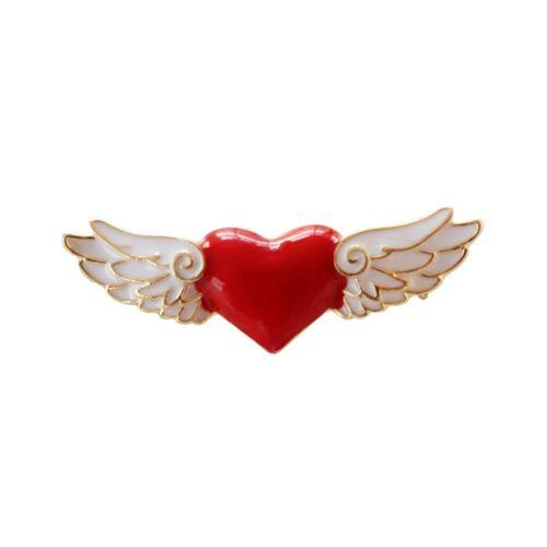 Magic Card Girl Sakura Anime Red Heart Angel Wings Brooches Pin Accessories