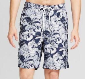 Mens-Board-Shorts-Swim-Shorts-Trunks-32-34-Swimsuit-Navy-White-Medium-NWT