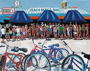Bicycle-Beach-Bar-Original-Art-PAINTING-DAN-BYL-Contemporary-Modern-People-4x5ft