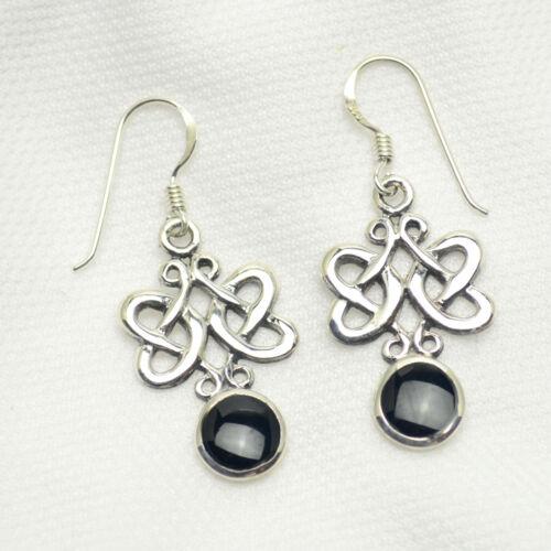 Ohrhänger Ohrringe echt 925 Silber Onyx Celtic Ohrschmuck Damen Schmuck os055