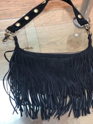 Preowned suede fringe bag black