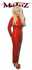 MISFITZ RED RUBBER LATEX LONG MISTRESS HOBBLE DRESS SIZES 8-32/MADE TO MEASURE