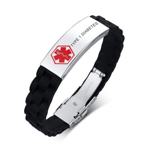 La vie sauve En Silicone Bande Medical Alert Hommes Bracelet Manchette Personnalisé le diabète de type 1
