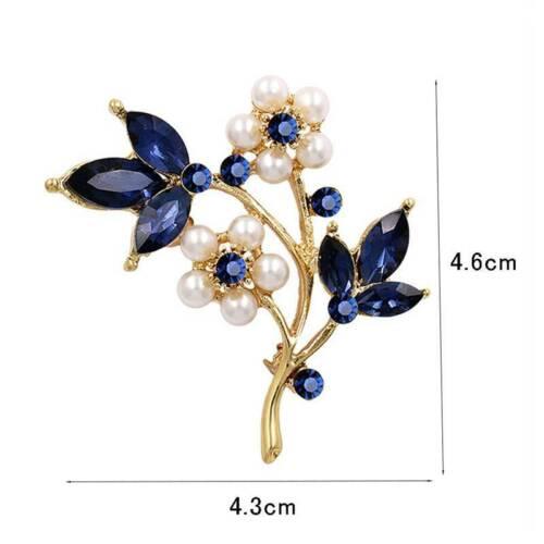 Gift Blue Crystal Pearl Brooch Fashion Jewellery Elegent Silver Gold Women/'s YI