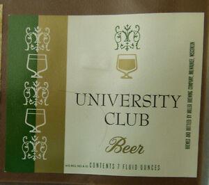 VINTAGE-AMERICAN-BEER-LABEL-MILLERS-BREWERY-UNIVERSITY-CLUB-7-FL-OZ