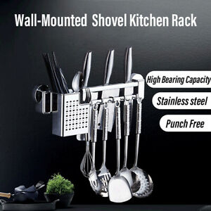 Kitchen-Stainless-Steel-Storage-Rack-Utensils-Wall-Mounted-Drainer-Holder