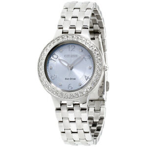 Citizen Silhouette Crystal Eco-Drive Movement Blue Dial Ladies Watch FE2080-56L