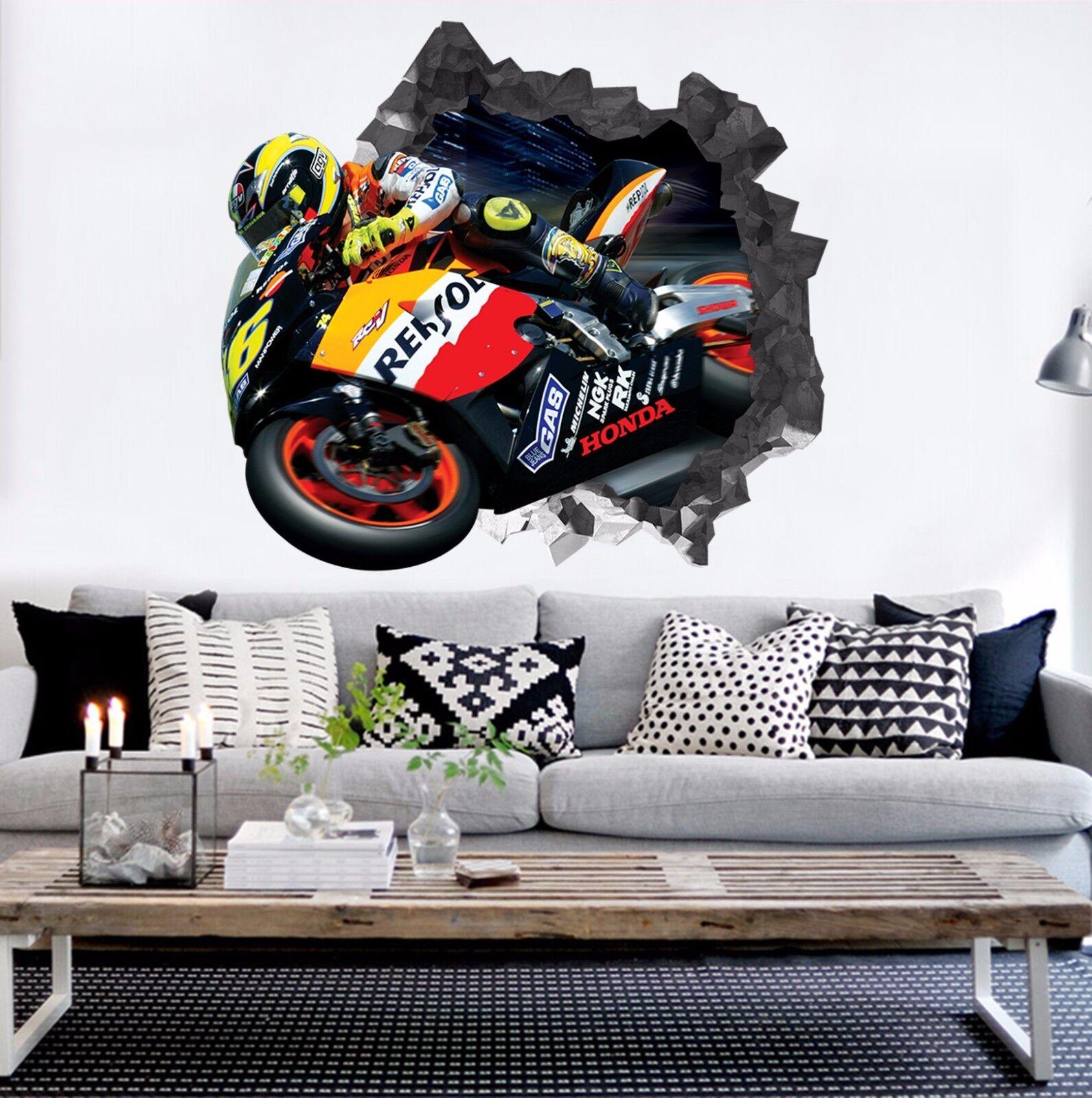 3D Motorrad Mann 78 Mauer Murals Mauer Aufklebe Decal Durchbruch AJ WALL DE Kyra