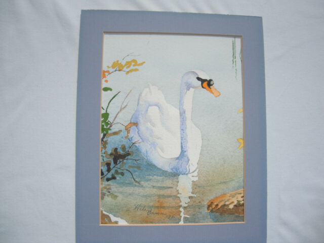 """Vintage Swan Watercolor Painting 6""""x8""""ART 8""""x10""""MAT Signed Home Decor Wall Art"""