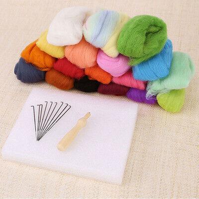 Lot 16 Colors Wool Felt Needles Felt Tool Set + Needle Felting Mat Starter Kits