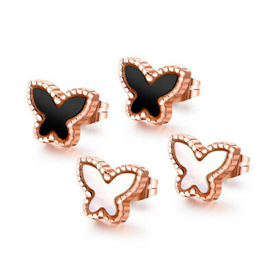 Damen Ohrstecker Schmetterling Perlmutt Edelstahl 316L Rosegold Ohrringe