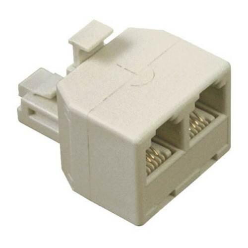 100 Pack Modular Telephone Duplex Jack Adapter IVORY RJ11-4C6P Phone Line