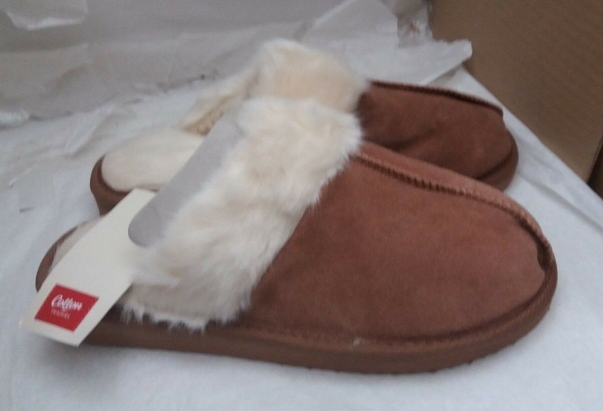 Cotton Traders Suede Mule Slippers - Tan - UK 7/8