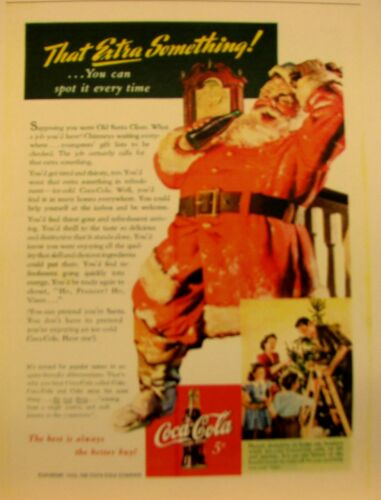"# 013 Cola   Santa Clause Color Poster   Poster 11/""X17/""   N0 1942 Drink Coca"