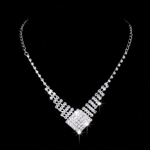 Sparkling Square Crystal Diamante Silver Necklace Earrings Set Costume Jewellery