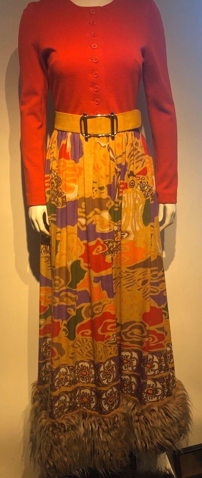 Vintage 1970s LANVIN Graphic Print Skirt Dramatic… - image 2