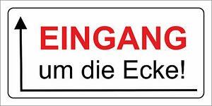 sonderposten schild eingang um die ecke pfeil links wetterfestes pvc schild ebay. Black Bedroom Furniture Sets. Home Design Ideas