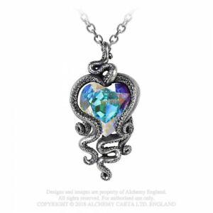 ALCHEMY-ENGLAND-Gothic-Octopus-Swarovski-Pendant-Chain-NECKLACE-Heart-of-Cthulhu