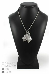 Doberman-pincher-silver-plated-necklace-on-silver-cord-Art-Dog-USA
