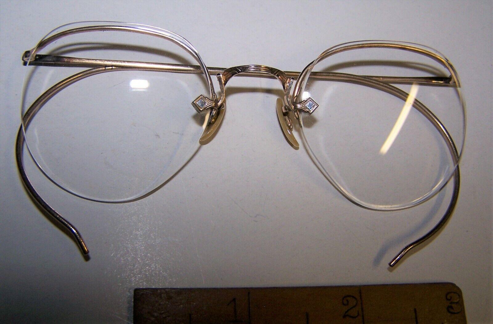 Gold Filled Art Deco Eyeglasses Vintage 1920s 1/10 12K Gold Wire Rimmed Shuron