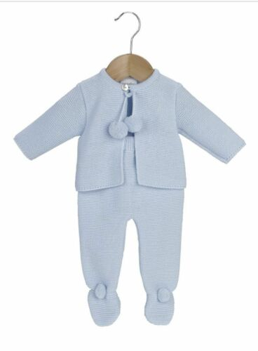 Splendido SPAGNOLO Lavorato a Maglia Bambina Bambino Bianco Pom Pom Giacca e legging Abiti