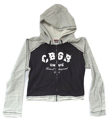 CBGB Jonny Rock Girls Juniors Grey Crew Sweatshirt Top New Punk NWT NYC