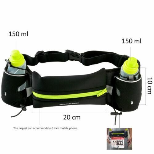 Laufgürtel Jogging Gürtel Tasche Trinkgürtel mit 2 Trinkflaschen 300ml