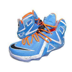 757e37a3cddb1 Nike Lebron XII 12 Elite University Blue Black White Total Orange ...