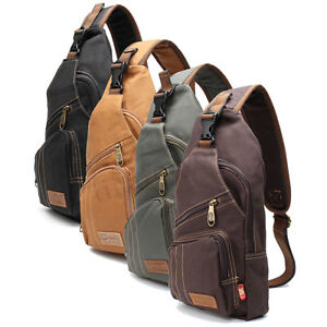 f670ba636c75 Image is loading Men-Canvas-Sling-Chest-Pack-Handbag-Messenger-Crossbody-