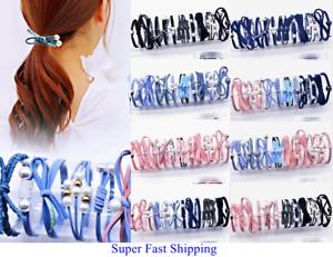 10PCS Elastic Hair Rope Headwear Pearl Ties Ponytail Holder Head Band Hairband