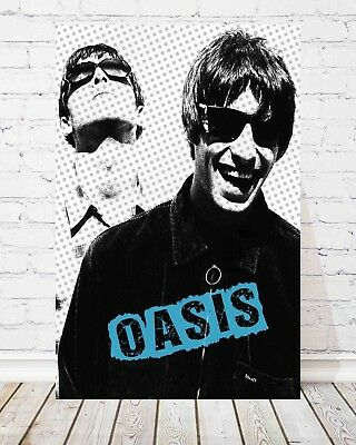 "Oasis Liam Gallagher British Flag Printed Canvas Picture A1.30/""x20/"" 30mm Deep."