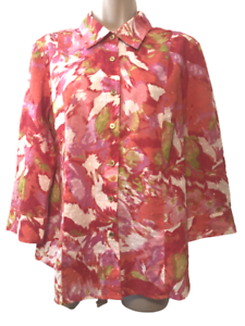 JM Collection Women's Blouse Size M (8) 3/4 Sleeve Cotton Button Down Shirt