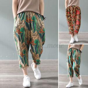 Mode-Femme-Pantalon-Imprime-floral-Coton-Taille-elastique-Casuel-Loose-Plus
