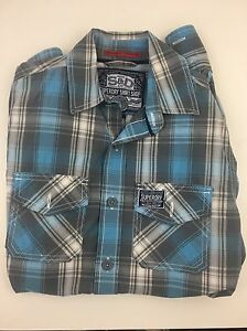Mens-Superdry-Blue-Checkered-Shirt-Small-in-VGC-FREE-PP