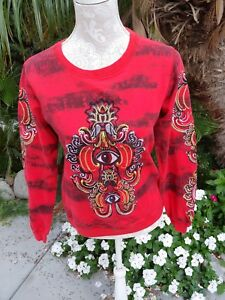 e77c5658b5fc8 Image is loading Kenzo-Paris-Red-Lotus-Evil-Eye-Embroidered-Sweatshirt-
