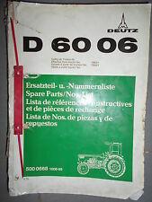 DEUTZ tracteur D6006 - D 6006 : catalogue de pièces A4