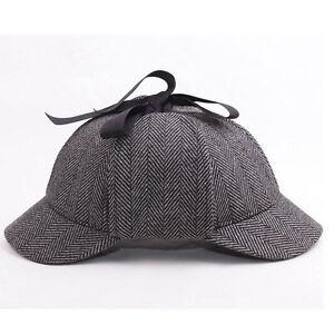 783bfdea20afa Mens Vintage British Style Wool Tweed Deerstalker Hat Hunting Cap w ...