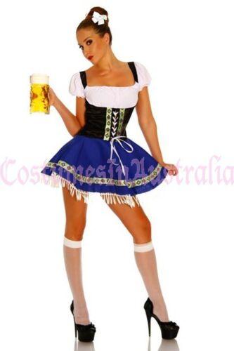 Ladies Oktoberfest Costume Beer Maid Blue Womens Wench German Heidi Fancy Dress