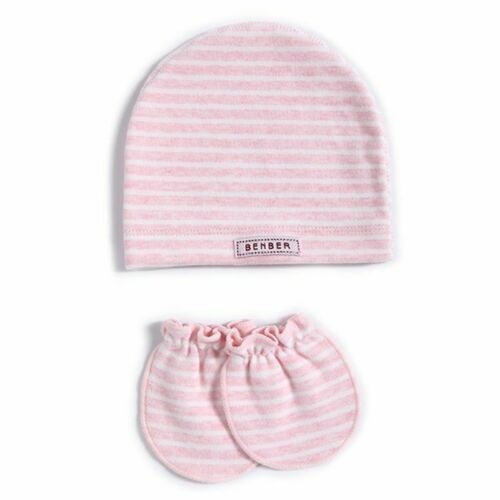 2 Pcs//set Simple Newborn Baby Births Cap Glove Set Soft Cotton Kids Infants Anti